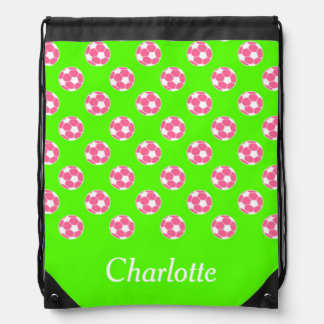 Preppy Pink and White Soccer Balls on Green Drawstring Bag
