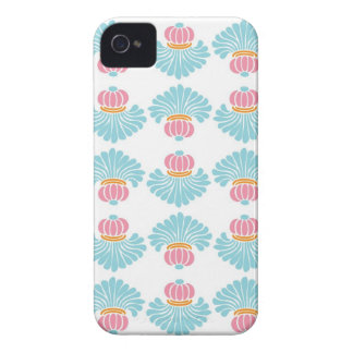 Preppy pink blue arabesque damask girly pattern iPhone 4 cover