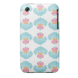 Preppy pink blue arabesque damask girly pattern iPhone 3 covers