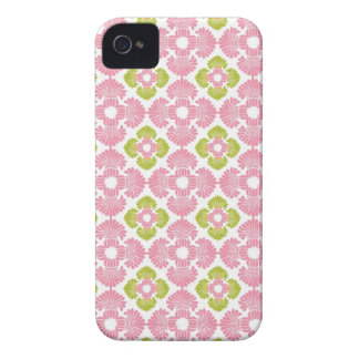 Preppy pink green arabesque damask girly pattern iPhone 4 cover