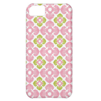 Preppy pink green arabesque damask girly pattern cover for iPhone 5C