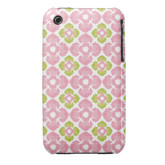 Preppy pink green arabesque damask girly pattern Case-Mate iPhone 3 case