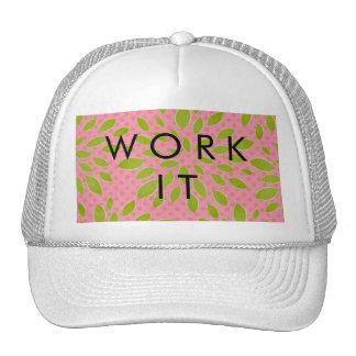 Preppy Pink & Green Bloom Dot Lime Pink Print Mesh Hats