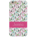 Preppy Pink Green Teal Tennis Pattern Personalised Barely There iPhone 6 Plus Case