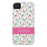 Preppy Pink Green Teal Tennis Pattern Personalised iPhone 4 Cover