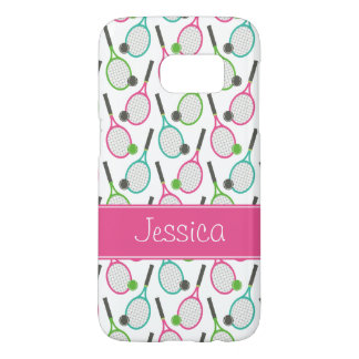 Preppy Pink Green Teal Tennis Pattern Personalized
