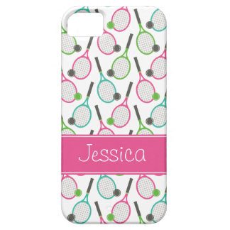 Preppy Pink Green Teal Tennis Pattern Personalized Barely There iPhone 5 Case