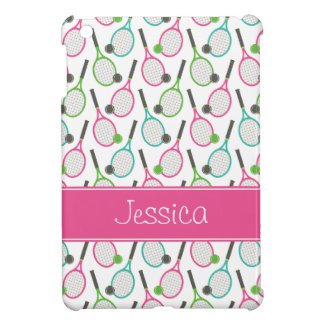 Preppy Pink Green Teal Tennis Pattern Personalized Cover For The iPad Mini