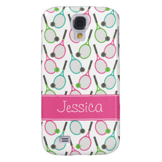 Preppy Pink Green Teal Tennis Pattern Personalized Galaxy S4 Case