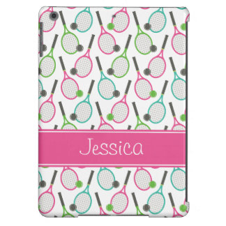 Preppy Pink Green Teal Tennis Pattern Personalized iPad Air Case