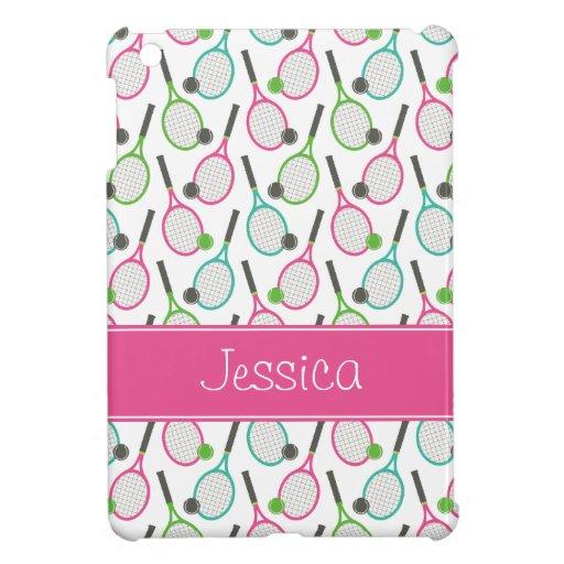 Preppy Pink Green Teal Tennis Pattern Personalized iPad Mini Case