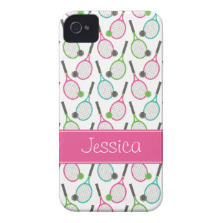 Preppy Pink Green Teal Tennis Pattern Personalized iPhone 4 Cover