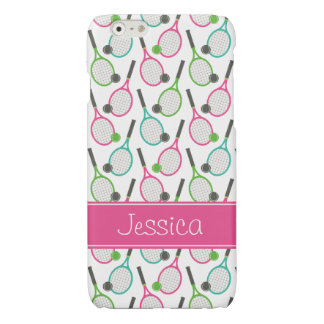 Preppy Pink Green Teal Tennis Pattern Personalized iPhone 6 Plus Case
