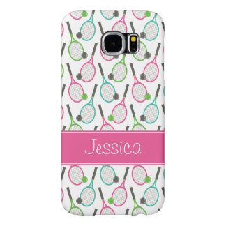 Preppy Pink Green Teal Tennis Pattern Personalized Samsung Galaxy S6 Cases