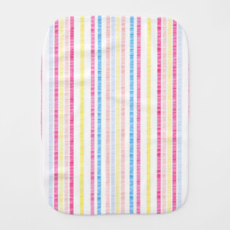 Preppy Pink Rainbow Seersucker Stripes Burp Cloth