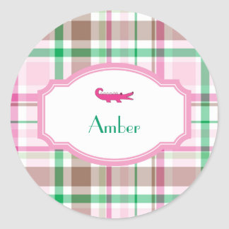 Preppy Plaid Alligator Lilly Shower Birthday Classic Round Sticker