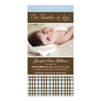 Preppy Plaid Birth Announcement (blue) Card