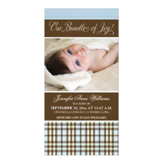 Preppy Plaid Birth Announcement (blue) Personalized Photo Card