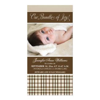 Preppy Plaid Birth Announcement (taupe) Photo Card