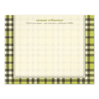 Preppy Plaid Custom Flat Note Cards (olive)