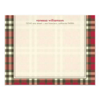Preppy Plaid Custom Flat Note Cards (red)