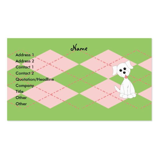 Preppy Puppy Double-Sided Standard Business Cards (Pack Of 100)