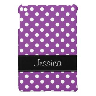 Preppy Purple and Black Polka Dots Personalized iPad Mini Case