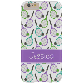 Preppy Purple Green Teal Tennis Personalized Barely There iPhone 6 Plus Case