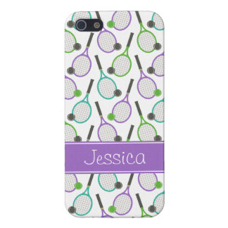 Preppy Purple Green Teal Tennis Personalized iPhone 5/5S Cover
