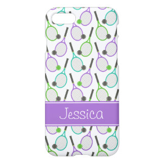Preppy Purple Green Teal Tennis Personalized iPhone 8/7 Case
