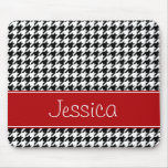 Preppy Red and Black Houndstooth Personalised