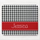 Preppy Red and Black Houndstooth Personalised Mouse Mat