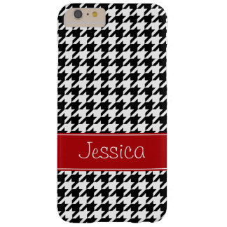 Preppy Red and Black Houndstooth Personalized Barely There iPhone 6 Plus Case