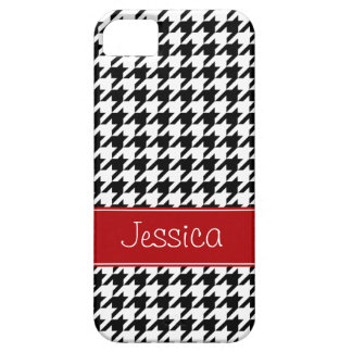 Preppy Red and Black Houndstooth Personalized Case For The iPhone 5