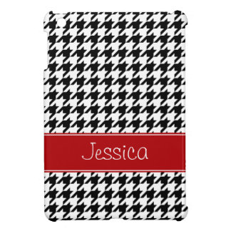 Preppy Red and Black Houndstooth Personalized Cover For The iPad Mini