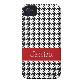 Preppy Red and Black Houndstooth Personalized iPhone 4 Case