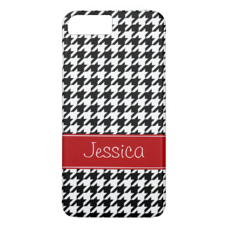 Preppy Red and Black Houndstooth Personalized iPhone 7 Plus Case