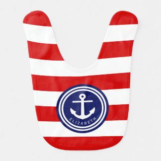 Preppy Red Nautical Stripe Anchor Monogram on Navy Bib