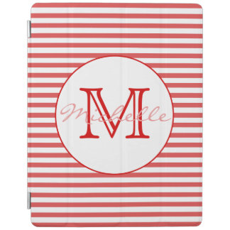 Preppy Red & White Striped Personalized iPad Cover