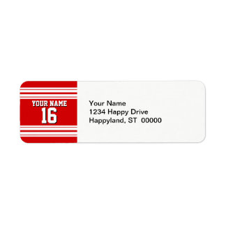 Preppy Sporty Red with White Stripes Team Jersey Return Address Label
