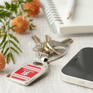 Preppy Sporty Red with White Stripes Team Jersey Silver-Colored Rectangle Key Ring