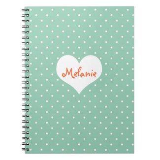 Preppy teal polka dot heart personalised journal
