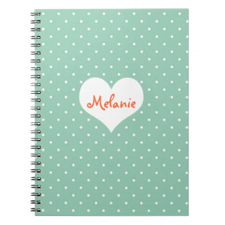 Preppy teal polka dot heart personalized journal