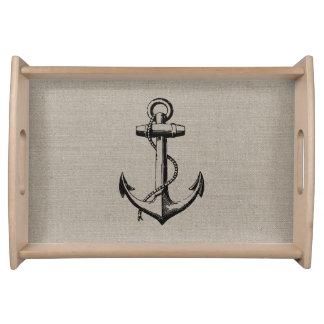 Preppy Vintage Anchor Serving Tray