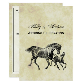 Preppy Vintage Horses Mother Baby Foal Card