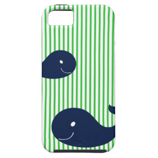 Preppy Whale Navy Green Stripe iphone 5  case