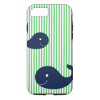 Preppy Whale Navy Green Stripe iPhone 7 case