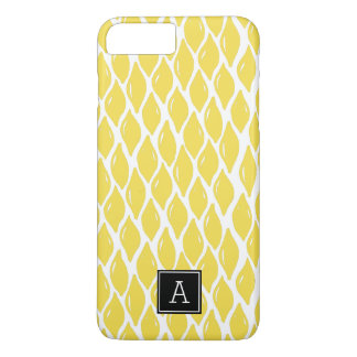 Preppy Yellow Lemon Black Monogram Personalized iPhone 8 Plus/7 Plus Case