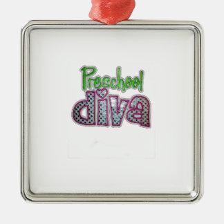 Preschool Diva School Grade Kids add Text Color Silver-Colored Square Decoration