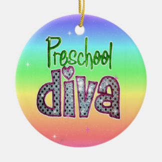 Preschool Diva School Grade Kids Girl Sparkle Round Ceramic Decoration
